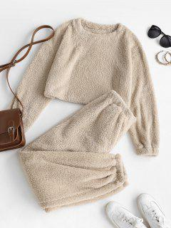 Lounge Fluffy Two Piece Teddy Top Pants Set - Coffee L