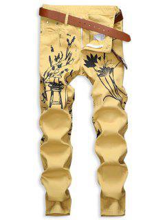 Jeans De Estampado De Pintura China Con Cremallera - Amarillo 32