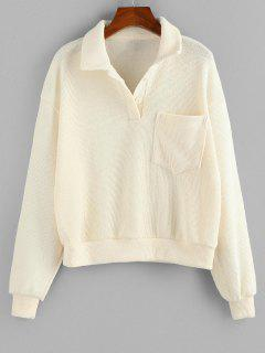 ZAFUL Drop Shoulder Pocket Half Button Sweater - White S