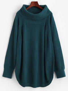 Cowl Neck Raglan Sleeve Tunic Sweater - Blue