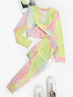 Twisted Front Tie Dye Two Piece Sweat Suit - Light Pink M