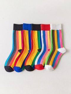 Conjunto De Calcetines Con Estampado De Rayas De Color Bloque - Multicolor-a