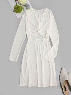 Ribbed Cut Out Twisted Front Long Sleeve Dress - White L