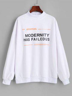 Mock Neck Letter Graphic Oversize Sweatshirt - White M