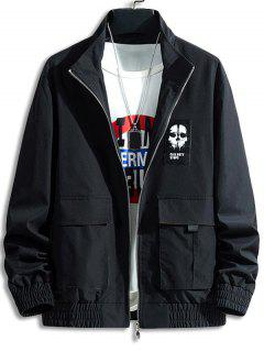 Skull Letter Patch Flap Pocket Jacket - Black L