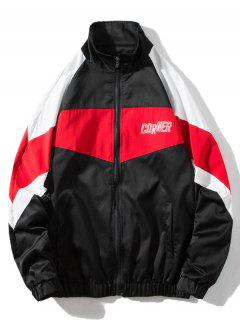 Around Corner Graphic Colorblock Windbreaker Jacket - Black 2xl