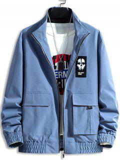 Skull Letter Patch Flap Pocket Jacket - Blueberry Blue S