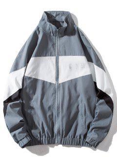 Around Corner Graphic Colorblock Windbreaker Jacket - Gray M
