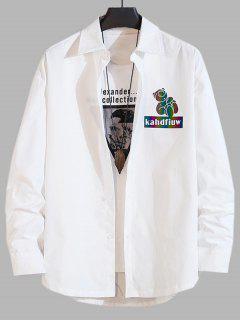 Reflektierende Cartoon Schwein Buchstabedruck Langarm Hemd - Weiß 3xl