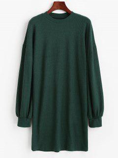 Crewneck Rib-knit Shift Dress - Green S