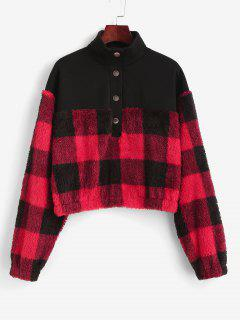 ZAFUL Plaid Patchwork Plush Sweatshirt - Black Xl
