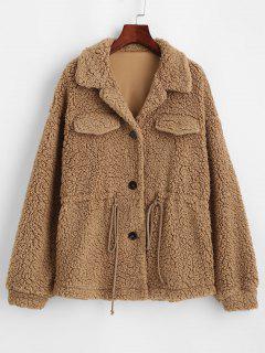 ZAFUL Faux Fur Drawstring Teddy Coat - Camel Brown M