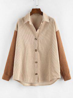 ZAFUL Corduroy Drop Shoulder Two Tone Shirt Jacket - Multi-a L