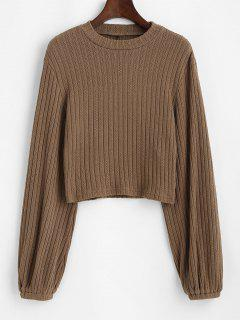 ZAFUL Ribbed Lantern Sleeve Cropped Sweater - Camel Brown L