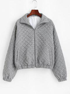 ZAFUL Gingham Quilted Coat - Black S