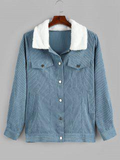 Plus Size Faux Fur Collar Corduroy Pocket Coat - Blu Denim L