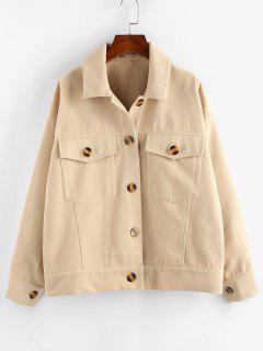 ZAFUL Pockets Drop Shoulder Woolen Jacket - Peach M