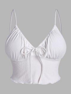 ZAFUL Plus Size Ribbed Tie Lettuce-trim Bustier Bikini Top - White Xxxl