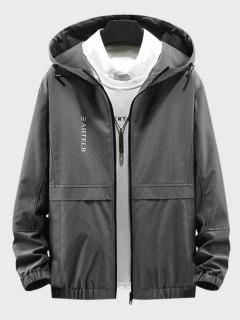 Heart Like Sunshine Print Zip Up Hooded Jacket - Gray L