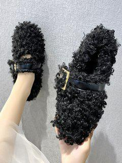 Buckle Strap Teddy Faux Fur Flat Shoes - Black Eu 39