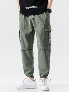 Letter Text Print Toggle Drawstring Casual Pants - Army Green S