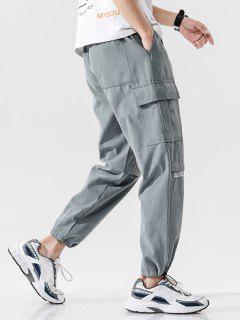 Pantalones Casual Estampado Letras Texto - Gris L