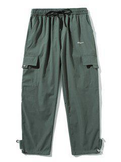 Letter Pattern Flap Pocket Drawstring Pants - Dark Gray L