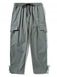 Letter Pattern Flap Pocket Drawstring Pants - Light Gray Xs