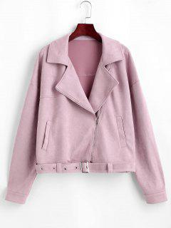 ZAFUL Zip Up Belted Faux Suede Jacket - Lipstick Pink M