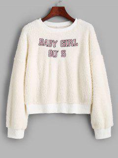 Sweat-shirt Fourré Brodé à Col Rond - Blanc M