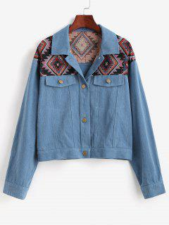ZAFUL Patchwork Tribal Denim Jacket - Deep Blue S