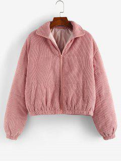 ZAFUL Corduroy Quilted Zipper Coat - Deep Pink M