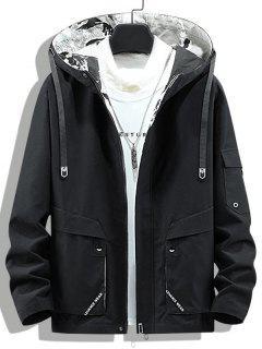 Letter Print Back Slit Hooded Jacket - Black L