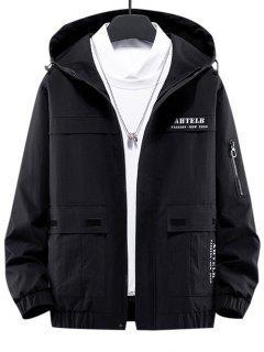 Letter Print Flap Pocket Zip Up Hooded Jacket - Black Xl