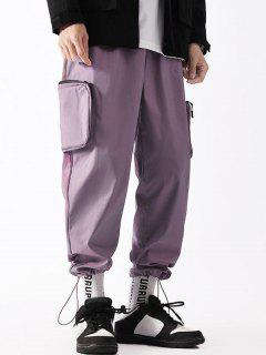 Applique Detail Side Pockets Cargo Pants - Purple L