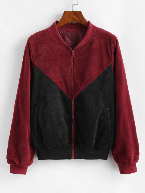 affordable ZAFUL Velvet Color Block Jacket - BLACK M Mobile