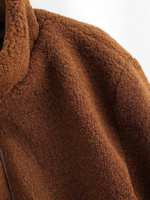ZAFUL Flauschige Künstliche Lammfell Teddy Mantel - Kaffee L Mobile