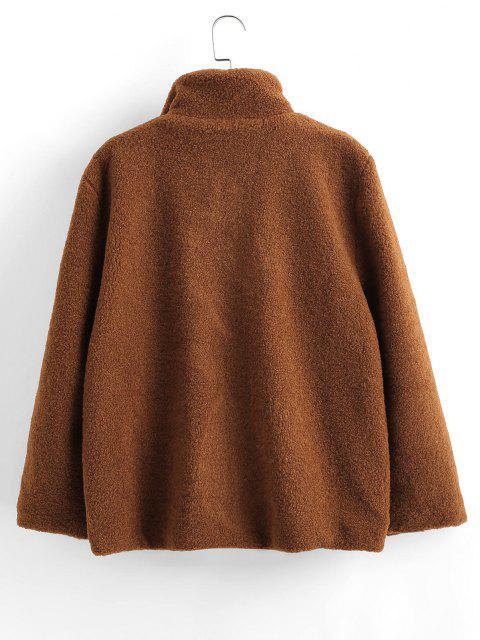 women ZAFUL Fluffy Faux Shearling Teddy Winter Coat - COFFEE XL Mobile