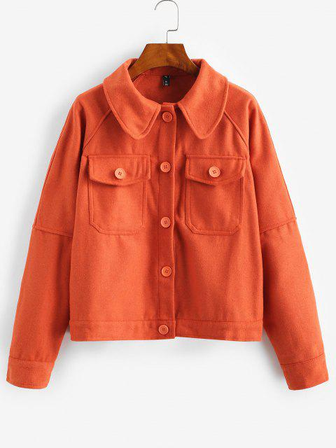 ZAFUL Manteau Boutonné avec Poche à Manches Raglan - Orange S Mobile