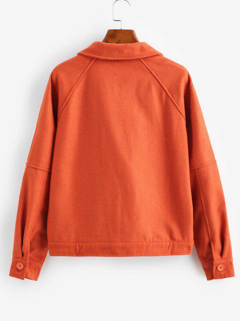 ZAFUL Manteau Boutonné avec Poche à Manches Raglan - Orange L Mobile