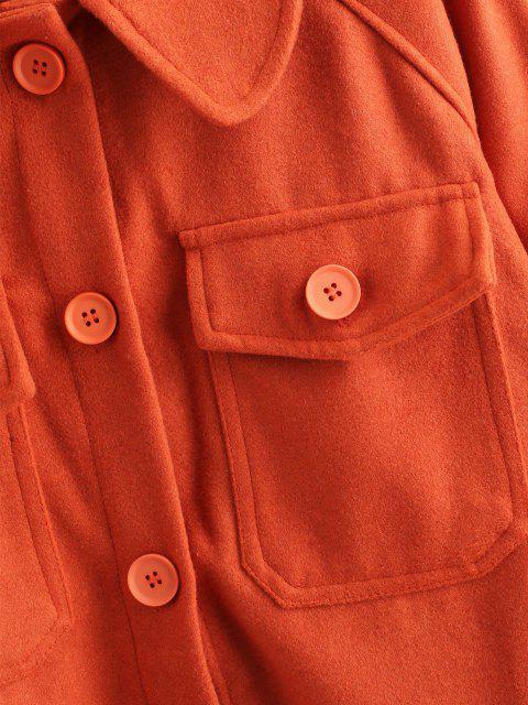 ZAFUL Raglanärmel Taschen Knopf Mantel - Orange XL Mobile