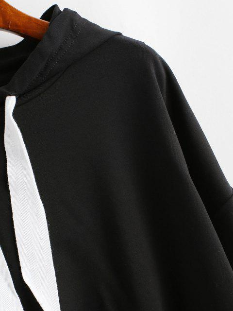 online ZAFUL Drawstring Drop Shoulder Sports Hoodie - BLACK S Mobile