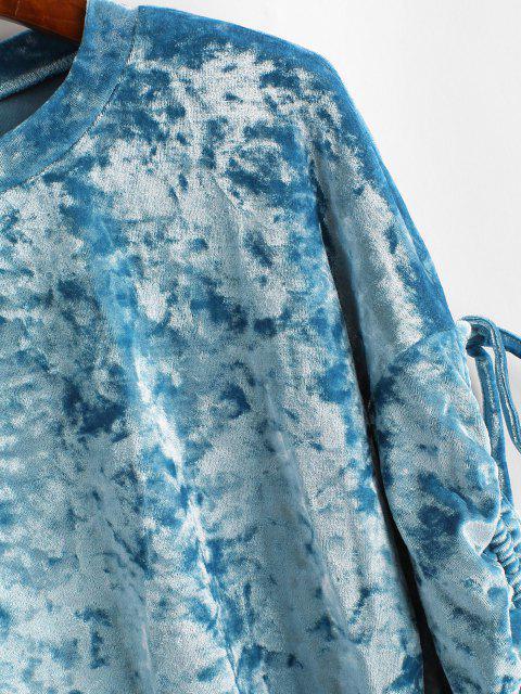ladies ZAFUL Pouch Pocket Crushed Velvet Sweatshirt - BLUE IVY S Mobile