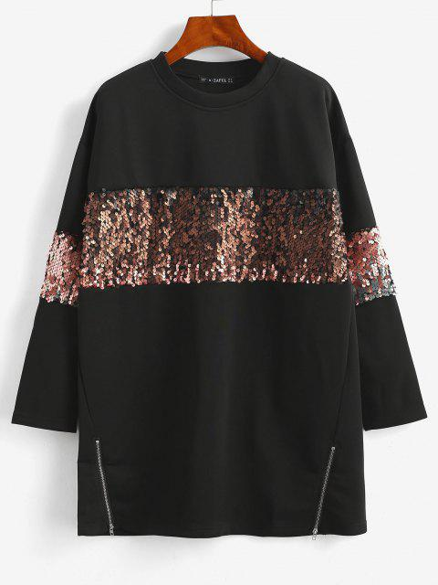 hot ZAFUL  Sequined Tunic Pullover Sweatshirt - BLACK S Mobile