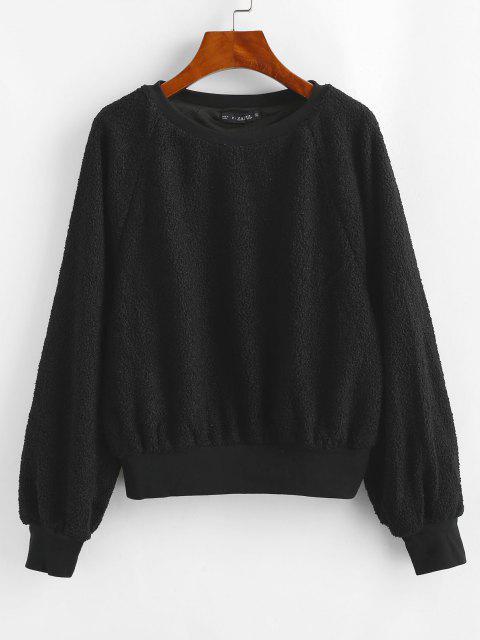 unique ZAFUL Raglan Sleeve Faux Shearling Teddy Sweatshirt - BLACK ONE SIZE Mobile