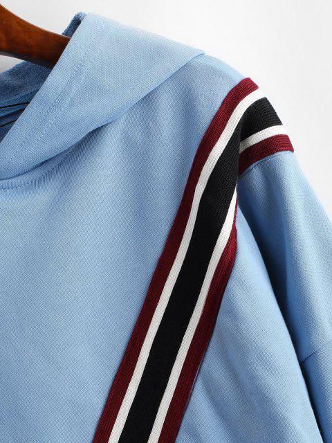 sale ZAFUL Striped Patched Loose Hoodie - DAY SKY BLUE S Mobile