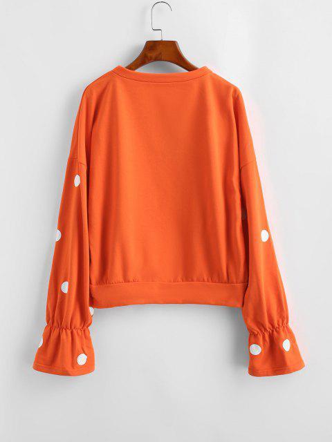 Sweat-shirt à Pois à Manches Plissées - Orange M Mobile