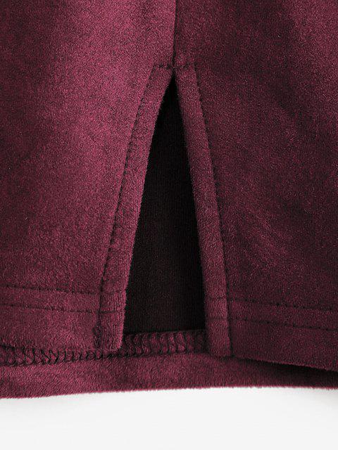 trendy ZAFUL Front Slit Faux Suede Mini Skirt - FIREBRICK L Mobile