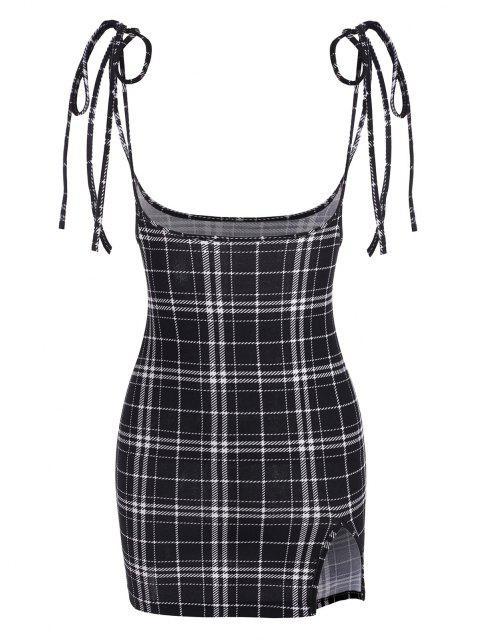 ladies Tie Plaid Bodycon Suspender Skirt - MULTI-B L Mobile