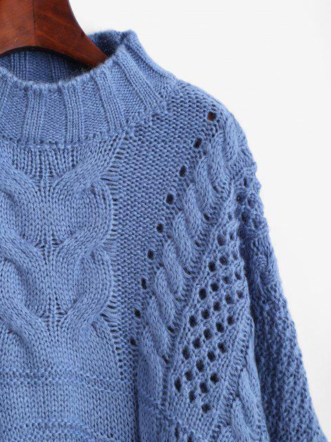 Pull Surdimensionné Epais en Tricot à Câble à Col Montant - Bleu Taille Unique Mobile